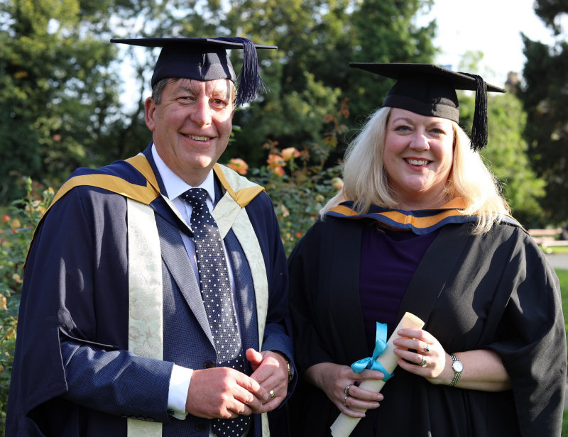 Hollie Whittles, pictured at the higher education graduation ceremony with Telford College principal and chief executive Graham Guest