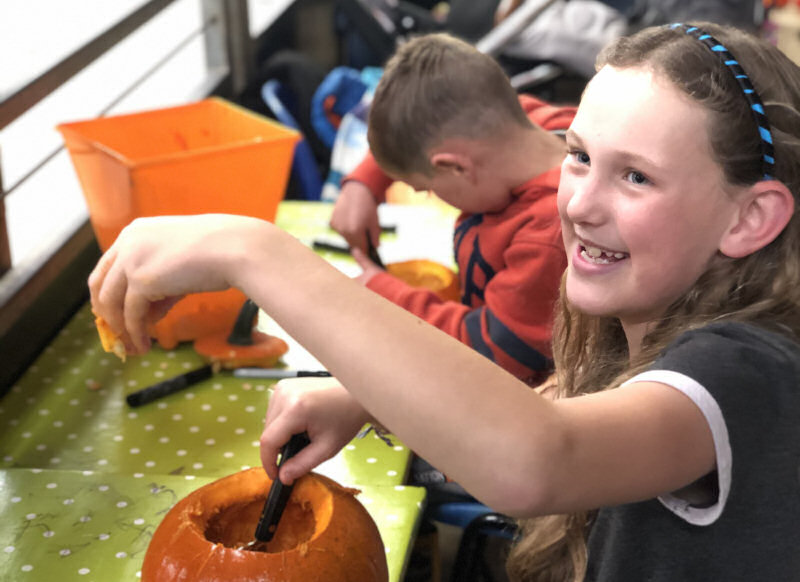 Jessica Heath scooping out a pumpkin at last year's event