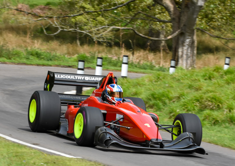 Champion-elect Wallace Menzies in action at Loton Park Hill Climb