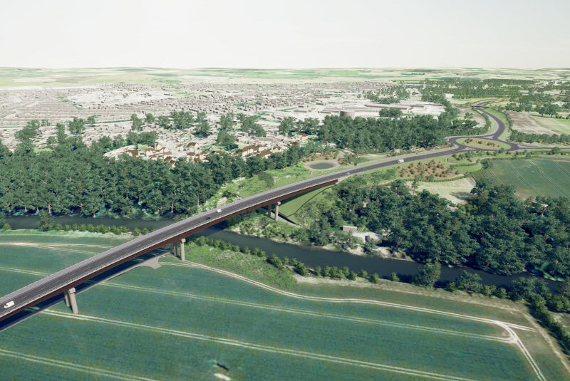 A view of the proposed North West Relief Road viaduct in Shrewsbury