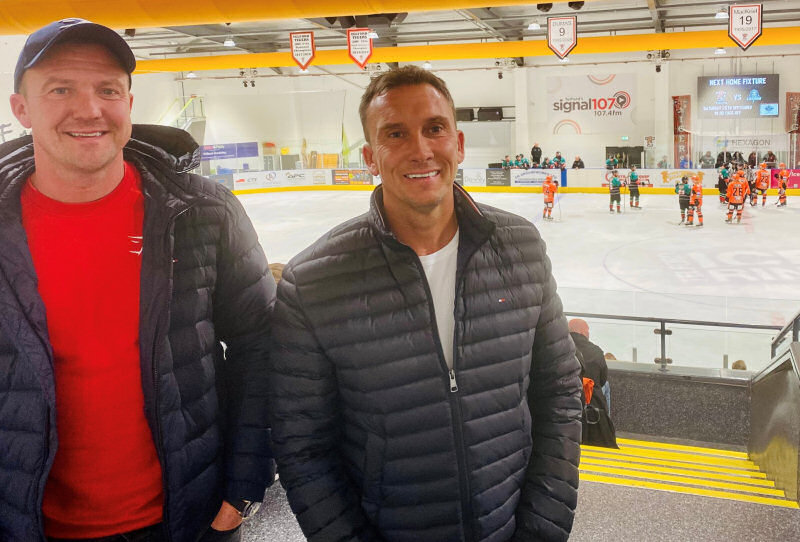 Pictured, Matt and Darren Fielding at Telford Ice Rink watching the Telford Tigers