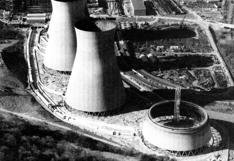 The cooling towers pictured under construction in 1967, were demolished in 2019. Photo: Courtesy of National Power/Ironbridge Power Station