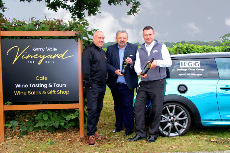 Russell Cooke, Owner of Kerry Vale Vineyard pictured with Managing Director of Heritage Glass Tony Randell and Jason Richards