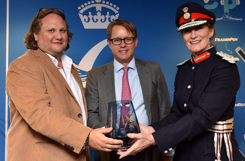 Toby Sutton, left, and Jack S Churchill receive the Queen's Award on behalf of Scanning Pens from the Lord-Lieutenant of Shropshire, Anna Turner