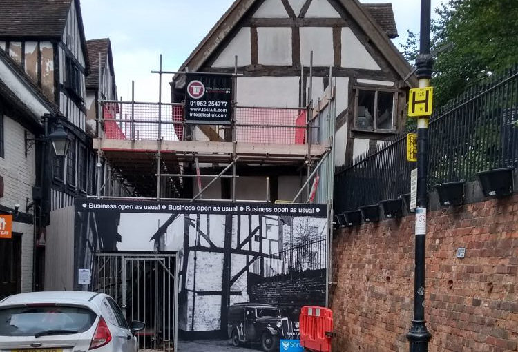 The 15th century Bear Steps building on Fish Street was damaged by at least one vehicle strike. Photo: Shropshire Council