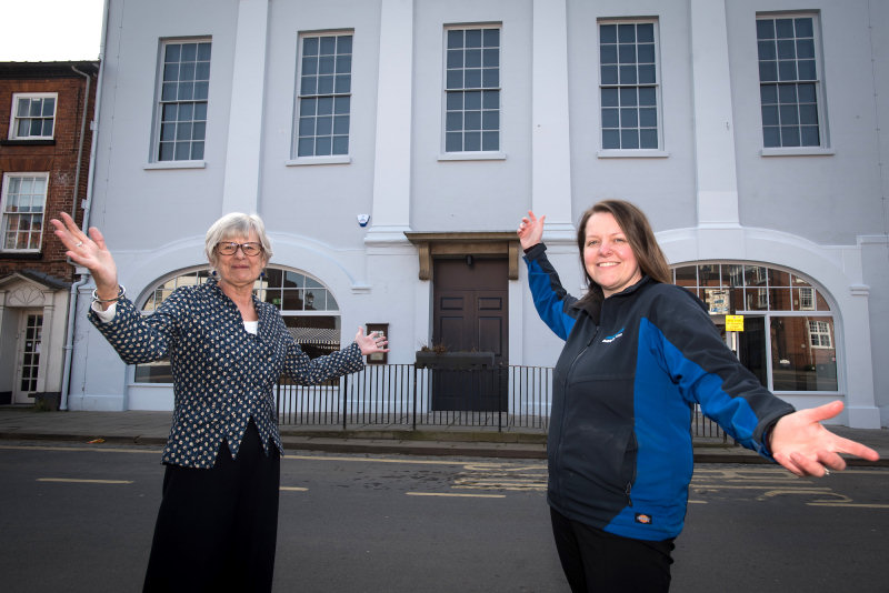Helen Hughes, Volunteer CEO of the Ludlow Assembly Rooms and Pave Aways Commercial Director Victoria Lawson outside the refurbished Assembly Rooms