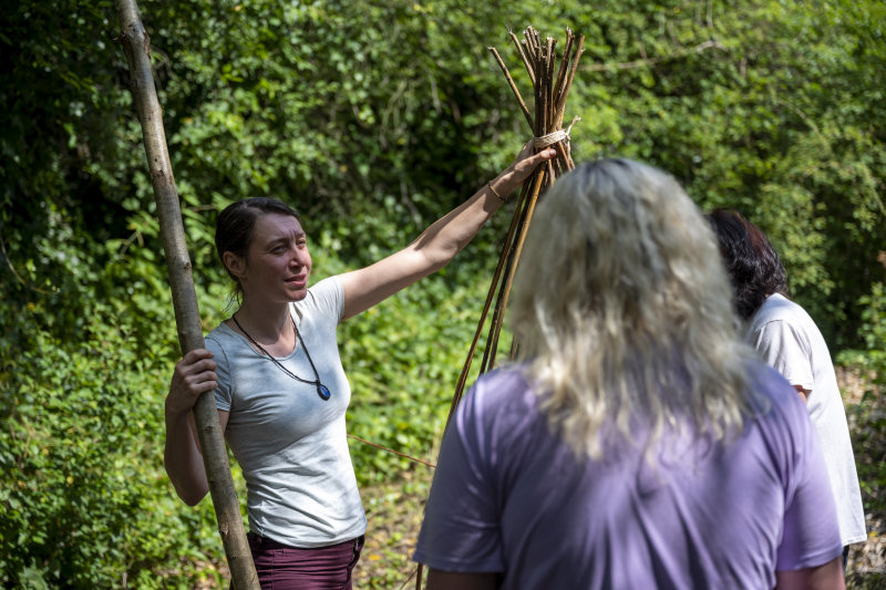 Small Woods tutor Suz Williams with course participants