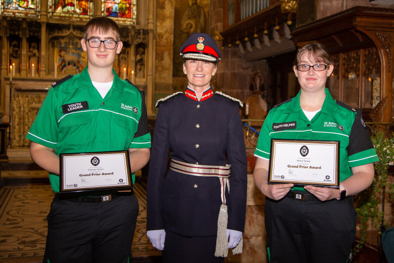 Tom and Marie Tanner receiving their Grand Prior Award from the Lord Lieutenant, Anna Turner